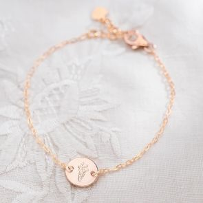 Etched Birth Flower Disc Personalised Bracelet
