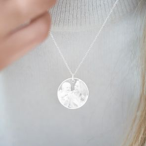 Etched Photo Disc Personalised Necklace