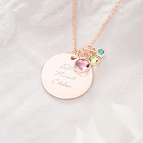 Family Birthstone Personalised Name Necklace