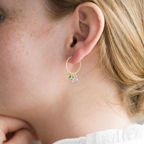 Family Heart Birthstone Personalised Earrings