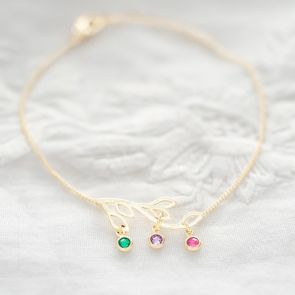 Family Tree and Birthstone Personalised Bracelet