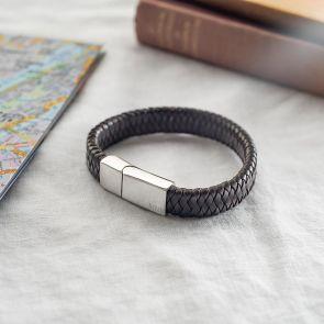 Men's Braided leather bolo personalised bracelet