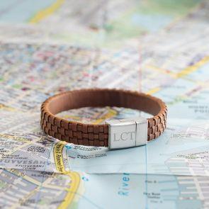 Men's Leather Lattice Personalised Bracelet