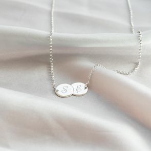 Coupled Sterling Silver Discs Personalised Necklace