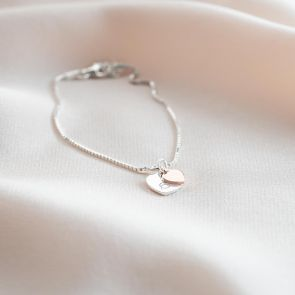 Hidden Sterling Silver Heart Personalised Bracelet
