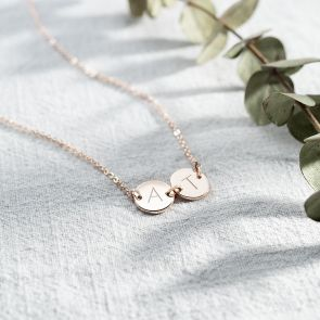 Contemporary Double Disc Personalised Initial Necklace