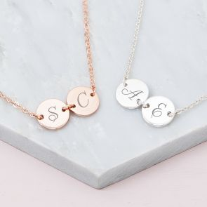 Double Disc Personalised Bridesmaid Necklace