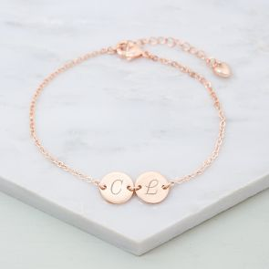 Initial Double Disc Personalised Bridesmaid Bracelet