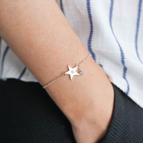 Personalised Star And Micro Birthstone Bracelet