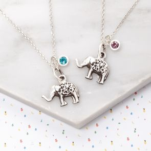 Mini Sterling Silver Elephant Charm Personalised Kids Necklace