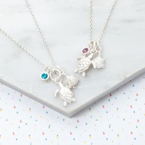 Mini Sterling Silver Turtle Charm Personalised Kids Necklace