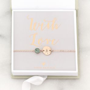 Personalised Hammered Initial Disc Druzy Bracelet