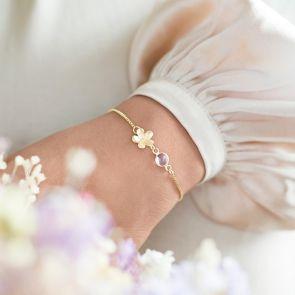 Flower Charm and Birthstone Personalised Slider Bracelet