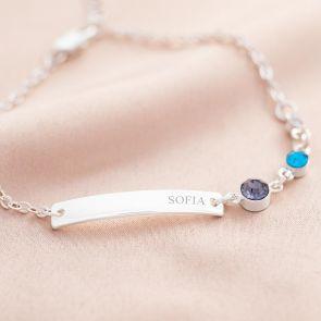 Family Birthstone & Bar Personalised Bracelet