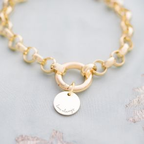 Aya Statement Chain and Disc Personalised Message Bracelet