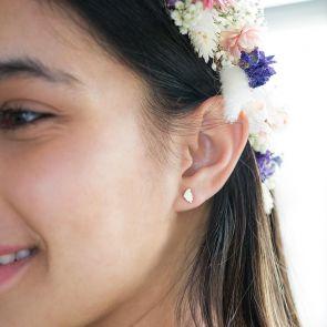 Gold Leaf Stud Personalised Earrings