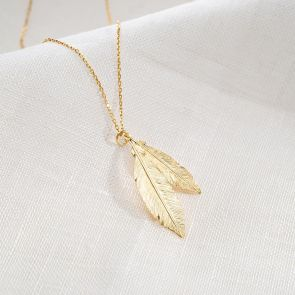 Golden Feathers Personalised Necklace
