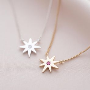 Guiding Star Birthstone Personalised Name Necklace
