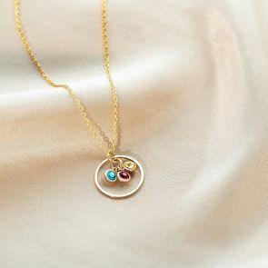Halo and Triple Micro Birthstone Personalised Necklace