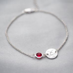Hammered Initial and Birthstone Personalised Bracelet