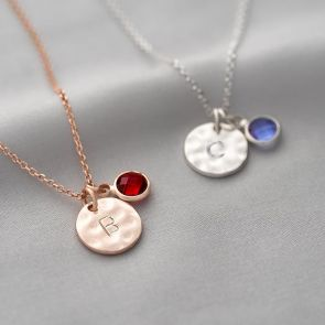 Personalised Hammered Initial Birthstone Necklace