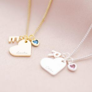 Heart Charm, Birthstone and Mini Letter Personalised Necklace
