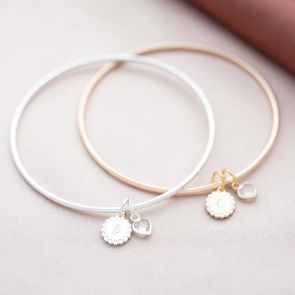 Heart Edge Disc and Heart Birthstone Personalised Initial Bangle