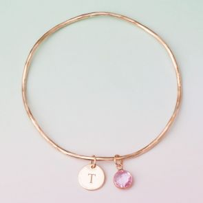 Initial Birthstone Personalised Bangle