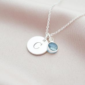 Personalised Sterling Silver Initial Birthstone Necklace