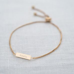 Iona Personalised Bar Slider Bracelet