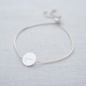 Iona Personalised Disc Slider Bracelet