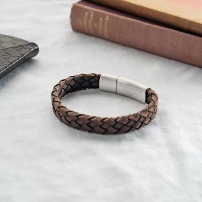 Hidden Message Woven Leather Bracelet