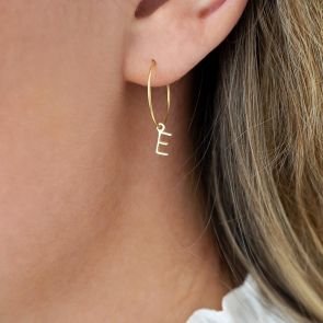 Letter Charm Personalised Hoop Earrings