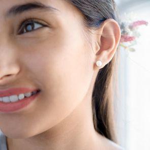 Lola Sterling Silver Pearl Personalised Earrings