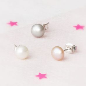 Lola Sterling Silver Pearl Personalised Earrings