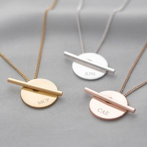Martha Disc And Bar Personalised Necklace