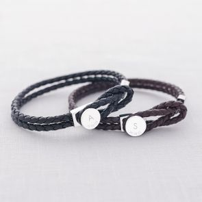Anton Initial and Date Personalised Men's Leather Bracelet