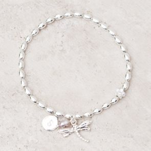 Mia Silver Plated Dragonfly Personalised Friendship Bracelet