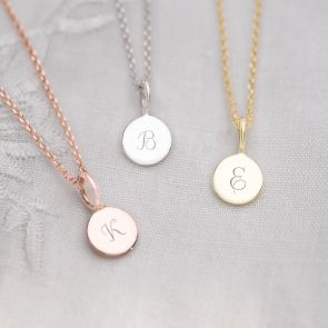 Micro Sterling Silver Sia Disc Personalised Necklace