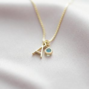 Sterling Silver Letter Birthstone Personalised Necklace
