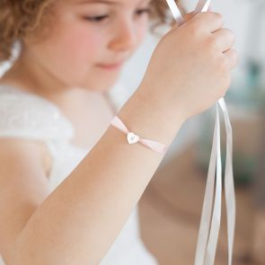 Mini Initial Heart Silk Ribbon Personalised Sterling Silver Kid's Bracelet