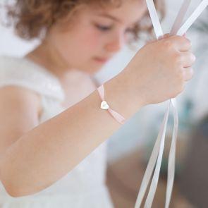Mini Initial Heart Silk Ribbon Personalised Sterling Silver Kid's Bracelet