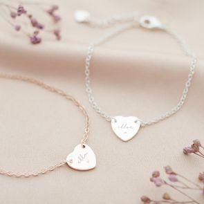 Modern Script and Illustration Heart Personalised Bracelet