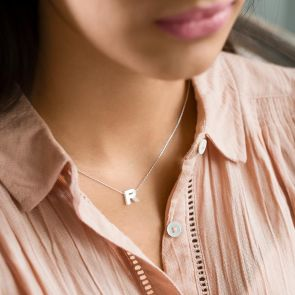 Mother Of Pearl Couples Letter Personalised Necklace