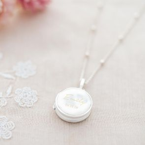 Mother of Pearl Name and Date Personalised Locket
