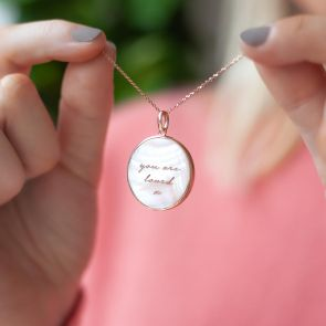 Mother of Pearl Pendant Personalised Name Necklace