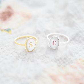 Mother of Pearl Personalised Initial Oval Ring