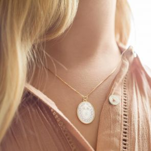Mother Of Pearl Sacred Heart Personalised Necklace