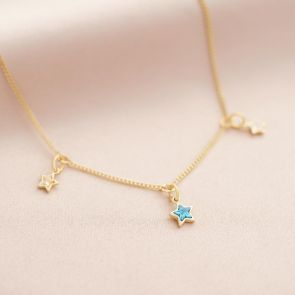Family Multi Birthstone Star Personalised Necklace
