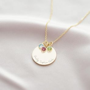 Family Disc Pendant & Birthstone Personalised Necklace